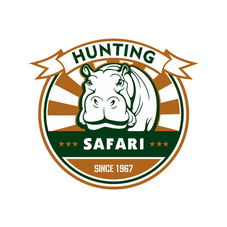safaris: Hunting sport and african safari symbol. Hippo, framed by round badge with ribbon banner and star. Safari trip, outdoor adventure and hunting sporting club design