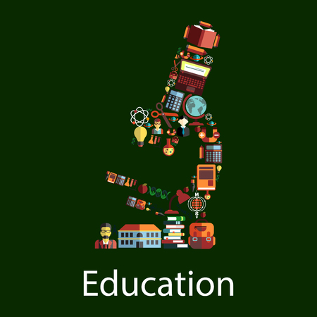 teacher and student: Microscope symbol with education icons. School and book, pencil, globe, student, computer, calculator and backpack, apple and flask, scissors and atom, DNA, light bulb and teacher Illustration