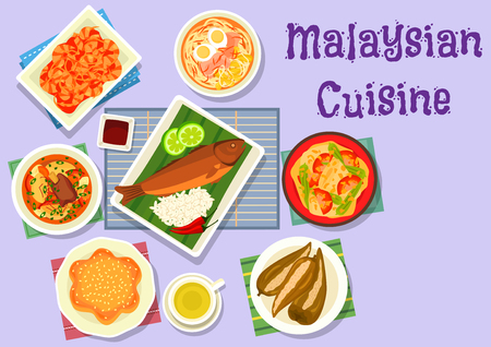 food illustration: Malaysian cuisine fish curry icon served on banana leaf with chicken noodle soup, grilled fish with rice, fried chilli shrimp, beef ribs soup, pepper stuffed with fish, flower cake