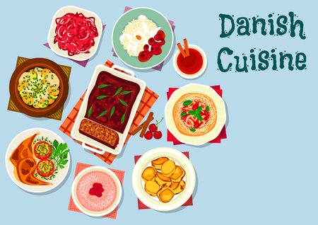 Danish and scandinavian cuisine dishes icon with fish vegetable stew, red cabbage salad, rice dessert, sweet potato, cherry bun, meat pate, chicken with potato, milk porridge with raspberry Illustration