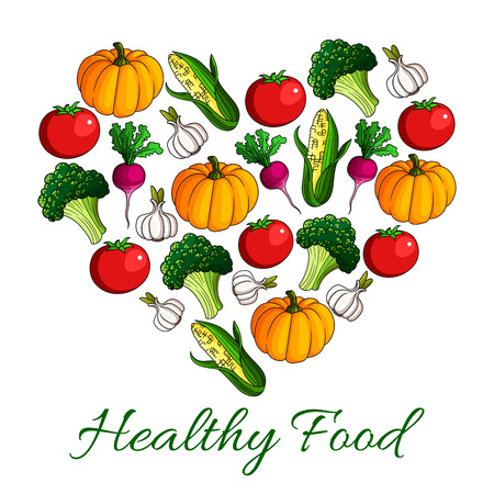 fresh food: Vegetable heart, love vegetarian food poster. Broccoli, tomato, garlic, radish, corn and pumpkin vegetables. Fresh farm veggies for healthy food menu, agriculture design