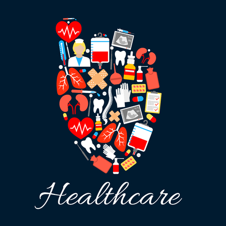 Heart medical poster created of healthcare icons. Pill, syringe, thermometer, doctor and heart, pulse, blood, tooth and baby ultrasound, lung and spine, kidney and plaster. Medicine design
