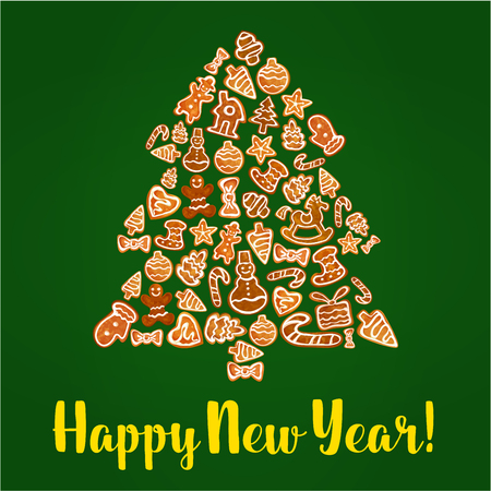 galleta de jengibre: árbol de pan de jengibre de Año Nuevo. Tradicional de galletas de jengibre esmaltado en forma de bastón de caramelo, árbol, hombre, estrella, el arco y el calcetín, bola chuchería, la casa y el guante, corazón, caballo. Vacaciones de invierno el diseño