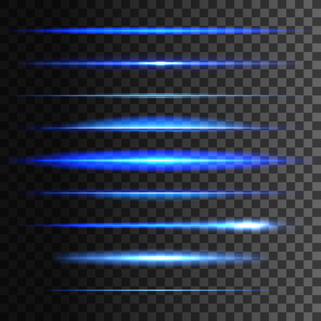 Glowing light lines. Vector set of light glow linear effect. Blue neon light flash stripes and sparkling rays traces on transparent background
