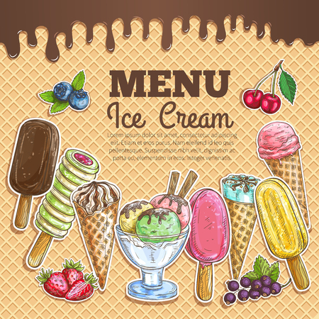 whipped cream: Ice cream menu poster. Wafer sketch texture background. Ice cream assortment of scoops in glass bowl, chocolate eskimo, sundae wafer cone, frozen fruit ice. Sweet ice cream dessert menu card, sign board, banner, poster