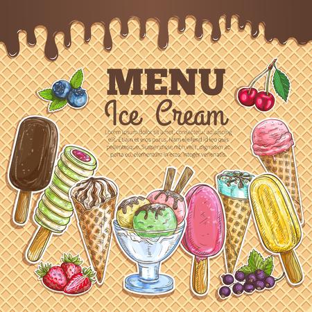 eskimo: Ice cream menu poster. Wafer sketch texture background. Ice cream assortment of scoops in glass bowl, chocolate eskimo, sundae wafer cone, frozen fruit ice. Sweet ice cream dessert menu card, sign board, banner, poster
