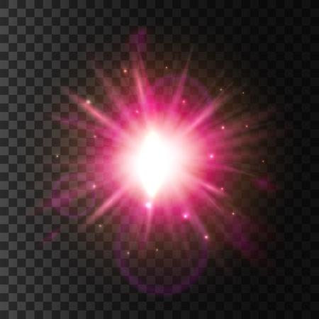 Lichte flitsvervaging. Glanzende ster met fonkelende lens flare effect. Glinsterende zonnestralen. Neonroos gloeiend lichtlicht. Glitter deeltjes explosie uitbarsting op transparante achtergrond Vector Illustratie