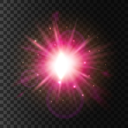 Light flash blur. Shining star with sparkling lens flare effect. Glittering sun rays. Neon pink glowing luminous light. Glitter particles explosion outburst on transparent background