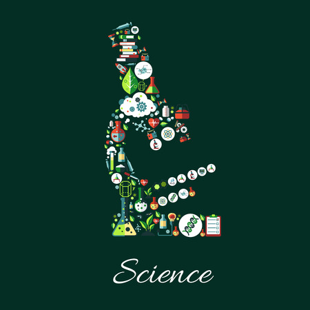 science scientific: Science poster. Microscope symbol of astronomy, chemistry, physics, medicine, mathematics science icons. Scientific conceptual sign of science icons research books, laboratory test flask, DNA, formula, computer, syringe Illustration