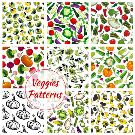 fresh vegetable: Vegetables patterns set. Veggies seamless vector background of fresh, farm organic vegetarian pumpkin, cabbage, cauliflower, olive oil, garlic, cucumber, tomato, pepper. Vegan vegetable food