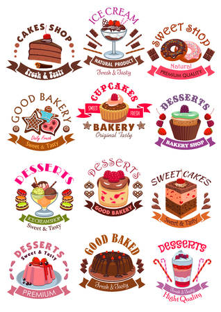 patisserie: Desserts icons, signs set. Sweets, cupcake, ice cream, cookie, cake, chocolate muffin, wafer, waffle with fruits and berries. Vector isolated symbols, ribbons for cafe, cafeteria, bakery shop, patisserie dessert menu