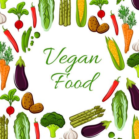 napa: Vegan poster of vector farm fresh organic carrot, corn, chinese cabbage, potato, broccoli, asparagus, radish, chili pepper, eggplant, pea, garlic