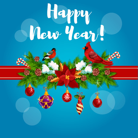 snow cardinal: New Year greeting card, poster tied with red cardinal birds, ribbon and decorated with christmas holly, pine, fir garland bow, baubles and poinsettia star flower, bullfinch, candy canes