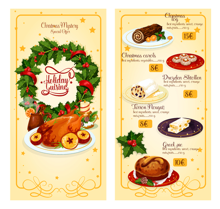 bread and wine: Christmas holidays restaurant menu with prices template design. Festive chocolate cake, turkey, mulled wine, pie, dresden stollen, greek sweet bread, nougat with holly wreath, candle and ribbon Illustration