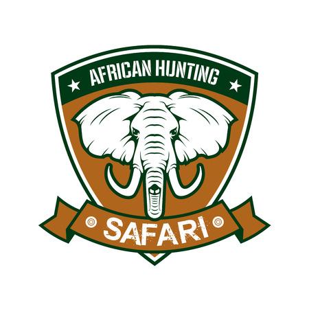 tusk: Hunting sport club sign. African safari hunter sport badge icon with shield, elephant tusk, ribbon. Wild animals hunt adventure Illustration