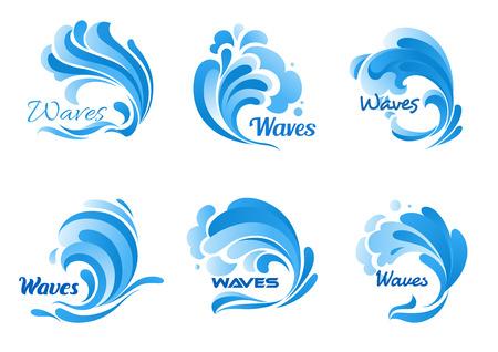 Waves isoliert Vektor-Icons. Wasserozeanwelle spritzen, Gezeiten Wasserrollen, stürmisch Curling, Kochen und brodelnden blauen Meereswellen