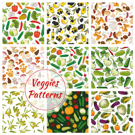 cep: Veggies patterns. Set of vector seamless vegetarian background of vegetables. Fresh vegan organic olive, cabbage, champignon mushroom, pumpkin, cauliflower, chanterelle, garlic, morel, cucumber, cep, tomato, pepper, amanita, potato, broccoli