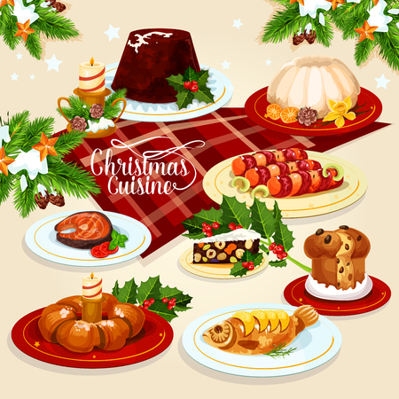 christmas pudding: Christmas festive dishes menu icon of xmas pudding, sweet Christmas wreath, stuffed fish, salted salmon, bacon wrapped sausage, raisins sweet bread, fruit and nut panforte with holly berry and candle