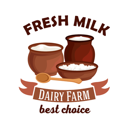 Fresh milk. Dairy farm vector isolated icon. Vector milk pitcher, sour cream jar, milk curd, cottage cheese. Village dairy farm badge