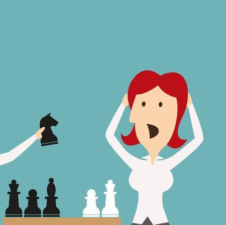 Frau verliert im Spiel von Schach-Ritter. Geschäftsmanager mit den Händen auf den Kopf schockiert, betonte, stricken in Panik in Schachmatt besiegt zu werden. Vektor-Business-Metapher des plötzlichen Niederlage von Konkurrenten im Wettbewerb Standard-Bild - 66211127