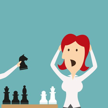 competitor: Woman losing in game by chess knight. Businesswoman manager with hands on head shocked, stressed, stricken in panic of being defeated in checkmate. Vector business metaphor of sudden defeat by competitor in competition