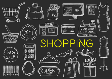 Shopping icons set. Vector isolated chalk sketch shopping items on blackboard. Shopping basket, price tag, barcode, money purse bag, shop counter, woman dress, credit card, clothes hanger, shoes, shopping gift box, discount offer label