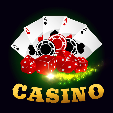 gambling game: Casino vector poster. Poker cards, gaming dices, bet chips, ace spades. Gambling poker game on green casino table background