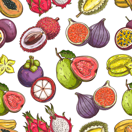 sliced fruit: Fruits pattern. Vector seamless background of fresh exotic and tropical fruits. Whole and cut sliced durian, figs, carambola, dragon fruit, guava, lychee, passion fruit maracuya, papaya