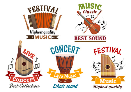djembe drum: Musical instruments. Vector isoloated icons for music festival, live concert, folk fest. Badges of harmonica accordion, flute, violin, contrabass, music notes clef, ethnic djembe drum, string bandura, lute, zither, ribbons