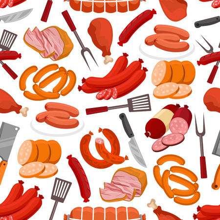 Meat delicatessen pattern. Vector seamless background of sausages, smoked bacon, roast beef, beef steak, ham, pork wurst, salami, schnitzel, grilled chicken leg, grill fork, knife, spatula