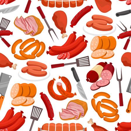 肉のデリカテッセンのパターン。ソーセージ、ベーコン、ロースト ビーフ、ステーキ、ハム、ポーク ソーセージ、サラミ、シュニッツェル、グリルド チキンの足のベクターのシームレスな背景グリル フォーク、ナイフ、へら