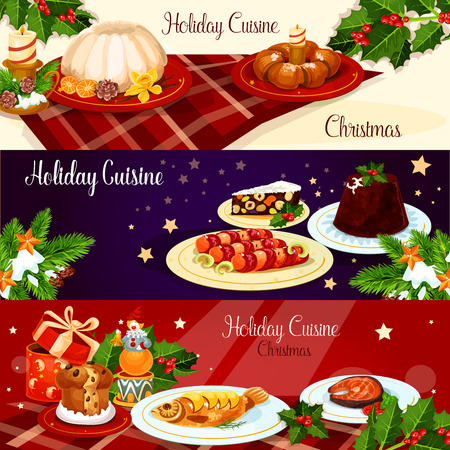 sweet bun: Christmas holiday cuisine banner set. British xmas pudding, smoked salmon, stuffed fish, sausage in bacon, raisins bread, italian nut dessert, sweet bun wreath with candle, holly berry, gift and star Illustration