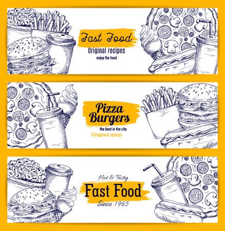 ファーストフード スケッチ バナー。ベクトルは、ハンバーガー、ピザ、チーズバーガー、フライド ポテト、ホットドッグ、ハンバーガー、ドーナ