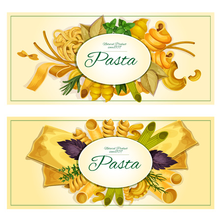 basil leaf: Pasta banners set. Italian cuisine macaroni and spaghetti for restaurant menu card. Pasta varieties sorts, types of tagliatelli, ravioli, farfalle, penne, lasagna, pappardelle, konkiloni, bucatini, basil, parsley, oregano, rosemary, bay leaf herbs