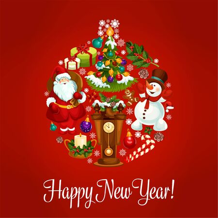 holiday gifts: New Year vector holiday greeting card with santa, snowman, wooden clock with chimes, holiday tree, gifts, wreath of holly leaves and pine tree branches Illustration