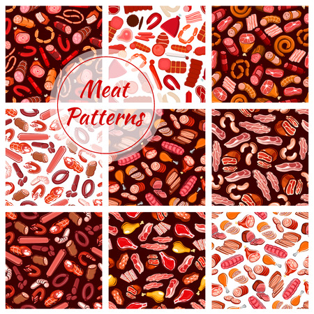 veal sausage: Meat patterns set. Vector seamless background of fresh and butcher shop delicatessen meat sausages, ham, bacon, beefsteak, schnitzel, salami, pepperoni, wurst, meatloaf, jamon Illustration