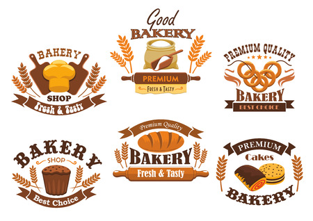 wheat bread: Bakery shop signs of bread, pastry, desserts. Vector isolated bakery icons of wheat bread loaf, flour sack with rolling pin, baked bagels, rye bread brick, sweet buns, pies