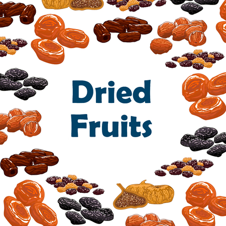 frutas deshidratadas: Frutas secas. Vector del cartel con primas nutritivos pasas, dátiles, higos, albaricoques, ciruelas, ciruelas pasas. dulces y aperitivos de postre vegetariana