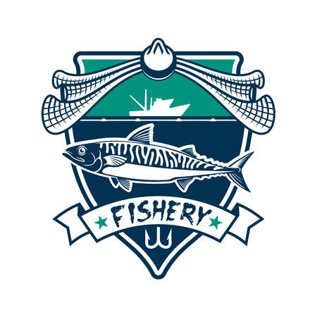 salmon fishery: Fishing icon. Fishery industry vector isolated sign with salmon, cod, sturgeon fish, fishing rod hook, fishing net, fisherman ship boat, sea, ocean