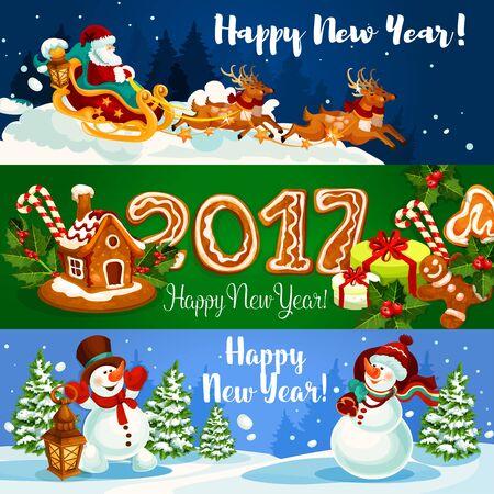 galleta de jengibre: Bandera de la Navidad con Santa Claus volando en trineo con renos, regalo de navidad, casa de pan de jengibre y hombre con la baya del acebo y de la galleta de jengibre número 2017, muñeco de nieve con bolsa de regalo y linterna