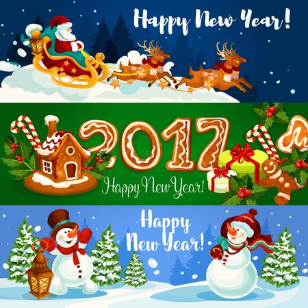 ilex: Christmas banner with Santa Claus flying on sleigh with reindeer, xmas gift, gingerbread house and man with holly berry and ginger cookie number 2017, snowman with gift bag and lantern