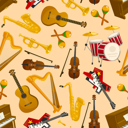 Cymbals: Music pattern. Vector seamless background of string and wind musical instruments electric and acoustic guitar, saxophone, harp, drum, violin bow, cymbals, trumpet, piano, maracas