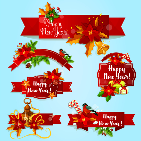 New Year red ribbon banners and labels with holly berry, fir and pine branches, gift box with ribbon bow, golden star and bell, poinsettia flower, candy cane, bullfinch and candle lantern Illustration