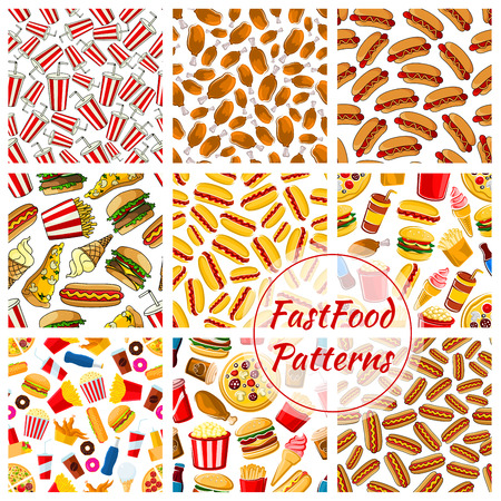fastfood: Fast food patterns set. Vector seamless background of fast food pizza slice, grilled chicken leg, barbecue sausage, hot dog, mexican tacos, cheeseburger, french fries, ice cream, soda bottle, donut, popcorn. Fastfood snacks, desserts, drinks