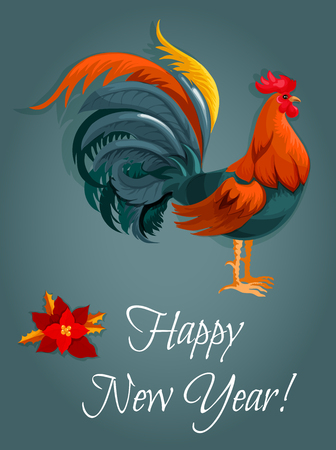 red animal: New Year greeting card with red rooster. New Year animal symbol with fire cock and poinsettia flower. Winter holiday themes design