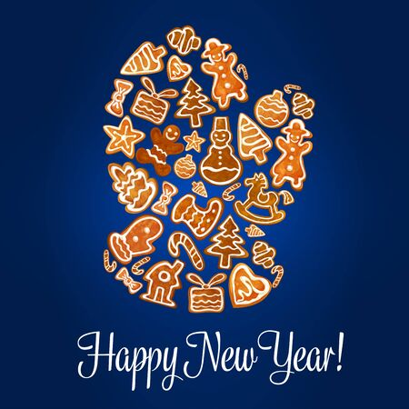 galleta de jengibre: Pan de jengibre Papá guante en el fondo del cartel de madera. hombre de jengibre galleta, bastón de caramelo, árbol, estrella y caja de regalo, muñeco de nieve, la media del calcetín, chuchería, casa, manopla y el arco. el diseño de fiesta tarjetas de felicitación