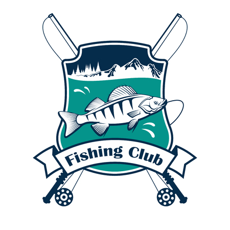 badge with ribbon: Fishing club sign. Vector isolated fisherman sport club emblem with fish hooked on fishing rod. Fishery adventure sport camp badge ribbon