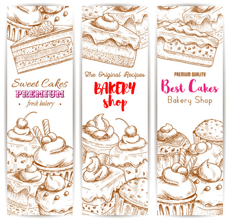 chocolate mousse: Bakery shop banners. Vector sketch desserts and sweets of cakes with fruits and berries, chocolate muffin, creamy pie, souffle cupcake, mousse for bakery, cafe, cafeteria, patisserie dessert menu Illustration