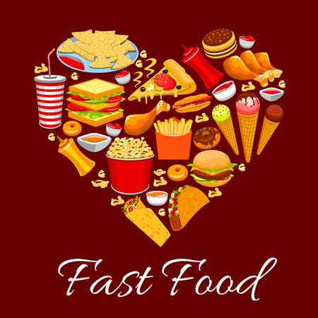 Fast food poster. Heart of vector fast food cheeseburger, french fries, pizza, nachos chips, hot dog, soda drink, ice cream, popcorn, burrito, tacos, donuts, meal snacks, drinks, desserts, pancakes, ketchup, mustard Illustration