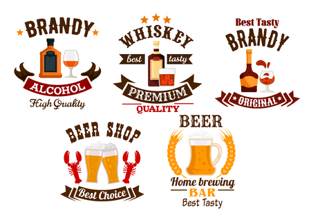 draught: Beer bar sign. Whiskey, brandy, draught beer vector isolated alcohol drinks icons set. Bar, brewery pub emblems, ribbons, stars, glasses, mugs Illustration